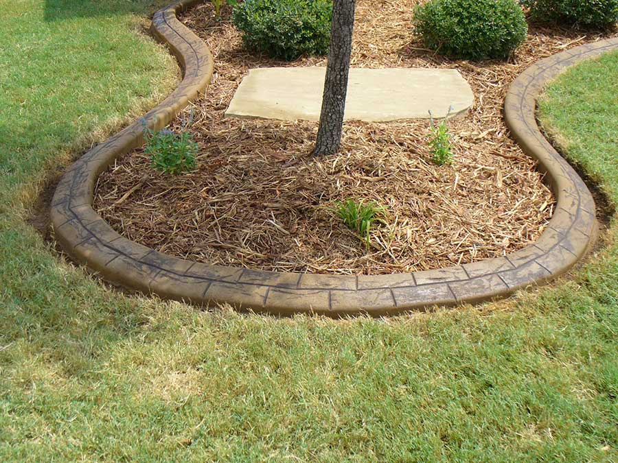 Concrete Curbing Around Planting Bed with Stamped Pattern