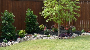 River Rock border landscaping in Plano texas